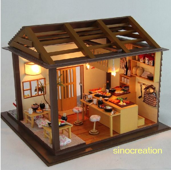 Free Shipping Wooden Toy DIY House Sakura Sushi Bar, Novelty Miniature Model Kit With Furniture Dollhouse Toy For Gift