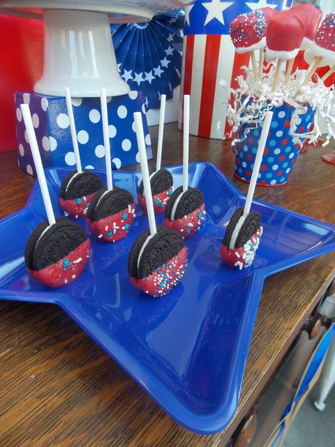 July 4th Oreos... I would cover totally in white chocolate before sprinkles, and my husband would just die!