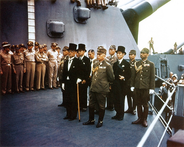 The Japanese surrender delegation aboard the USS MISSOURI