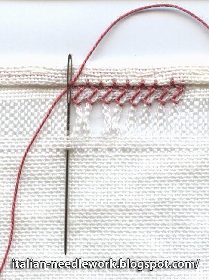 Italian Needlework: Gigliuccio hemstitching done on the back side
