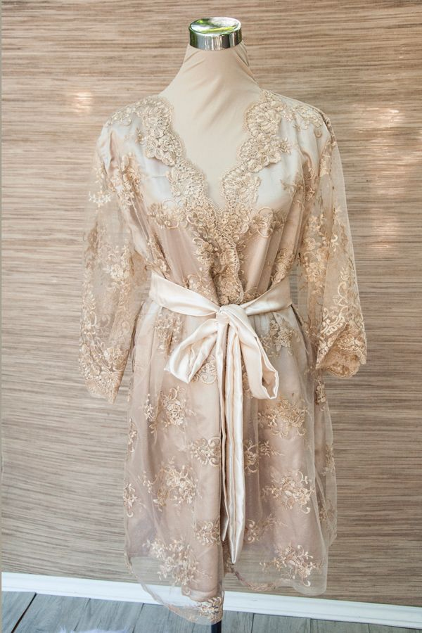 Diana Scallop Bridal Lace Robe in Taupe by Niya Gabriela  For the beautiful bride's special day and ever after. Get ready for your wedding in this elegant and classic robe. Add some glamour to your wedding preps by wrapping your body in our lace robe in an elegant taupe shade.