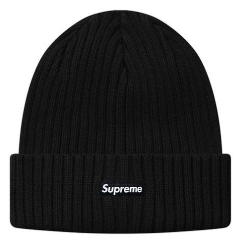 2015-FW-SUPREME-Ribbed-Beanie-Black-Supreme-Beanie-Hat-Cap-NWT