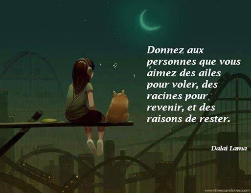 """""""Donnez aux personnes que vous aimez des ailes pour voler, des racines pour revenir, et des raisons de rester."""" - Dalaï Lama"""