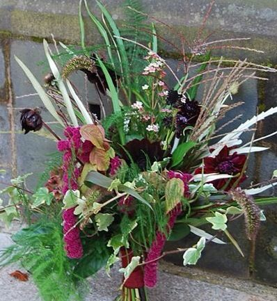 October Bridal Bouquet Using Mainly Seasonal British Flowers Wedding Rich Warm Colours Of