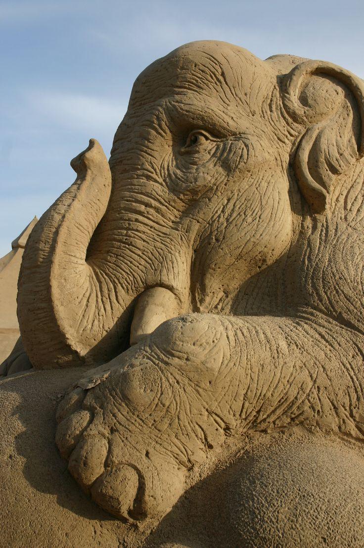 Sand Sculpture of an Elephant. #pinterest Photo Lene Poulsen