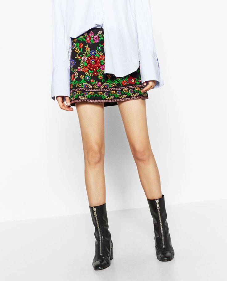 Image 3 of EMBROIDERED MINI SKIRT from Zara