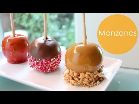 manzanas caramelizadas, con caramelo y con chocolate, receta para otoño