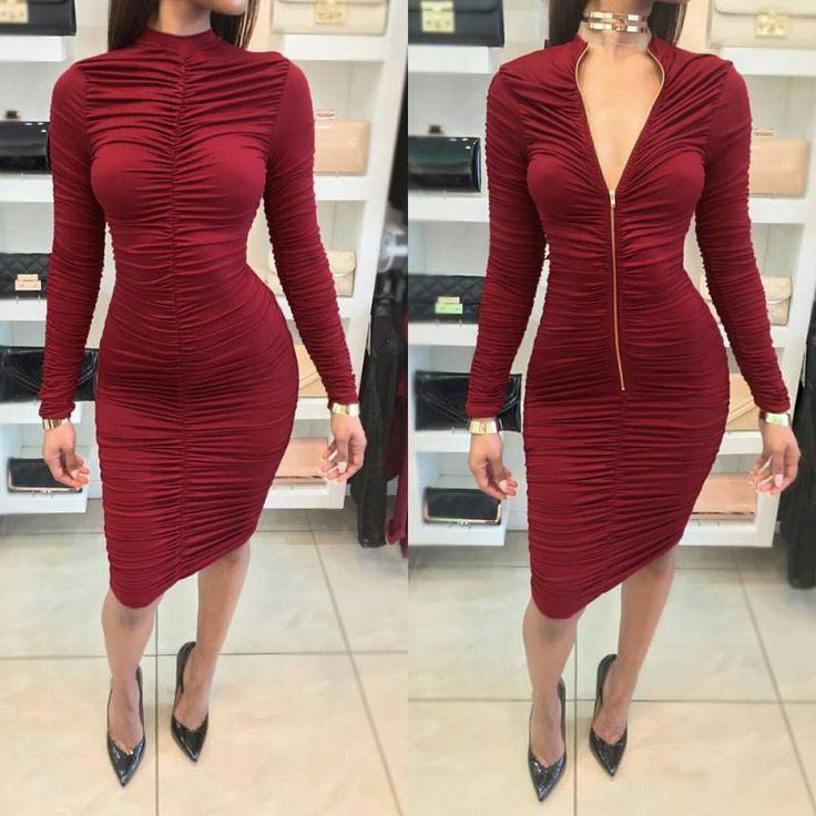 Aliexpress.com : Buy High Neck Red Wine Elegant Sexy Pleat Women Sexy Sheath Dress Club Bodycon Women Dress from Reliable sheath dress suppliers on WeVi  Fashion  Home