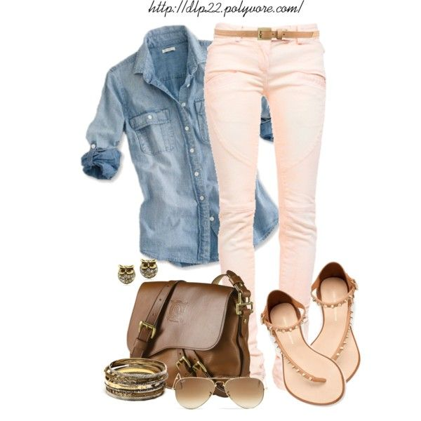 almost pale blue jean shirt darker at the rolled cuffs - camel skinny belt - pale pink skinny jeans - gold studded earrings - light brown crossover bag -  cream/gold/ suede sandals - gold aviator sunglasses - gold/silver bracelets