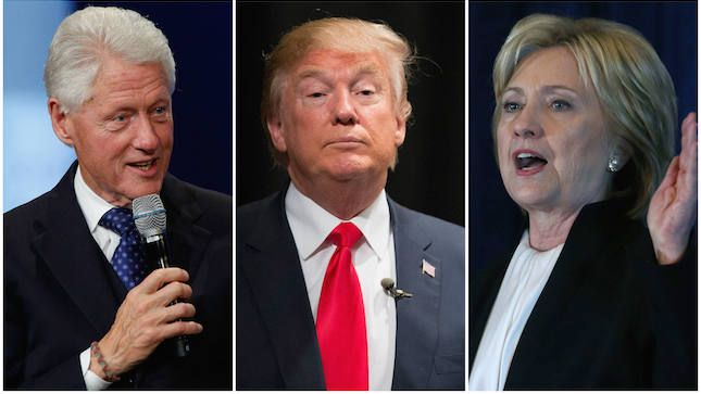 Trump steps up attacks on Clintons in end-of-year event.