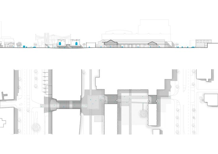 CIVIC architects - Willem II passage - Tilburg | Plan and Section