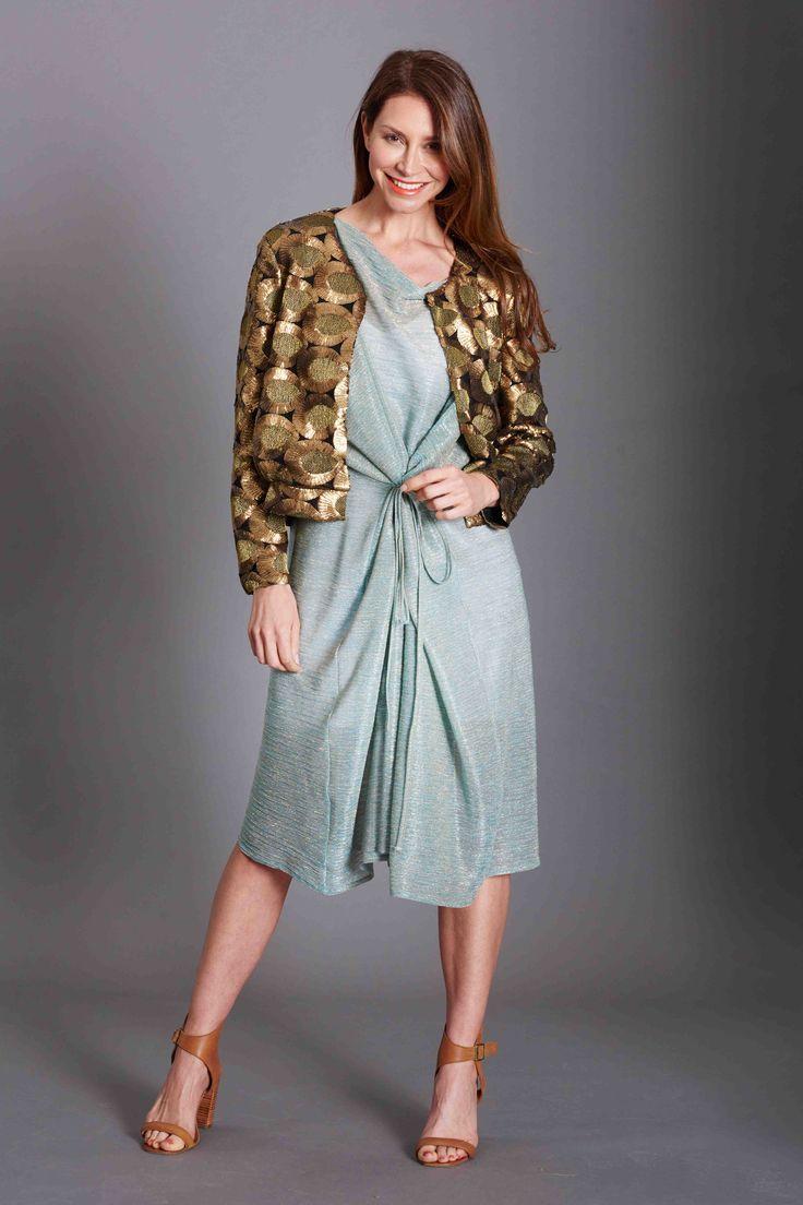 Aqua shimmer Baztan, Limited edition fabric Bomber jacket fully beaded. Australian Made