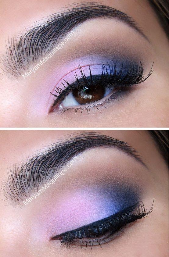 Pink & blue smoky eye.