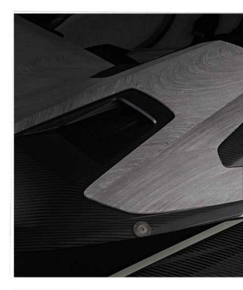 So sleek, it's lines offers an uninterrupted glance. Peugeot Onyx Concept Car interior of wood-paper by Vij5