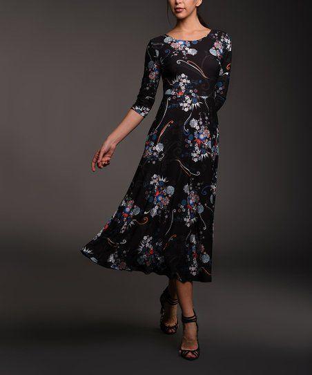 cf1fd7f60a7a Lbisse Black & Blue Floral Three-Quarter Sleeve Midi Dress - Women & Plus    zulily