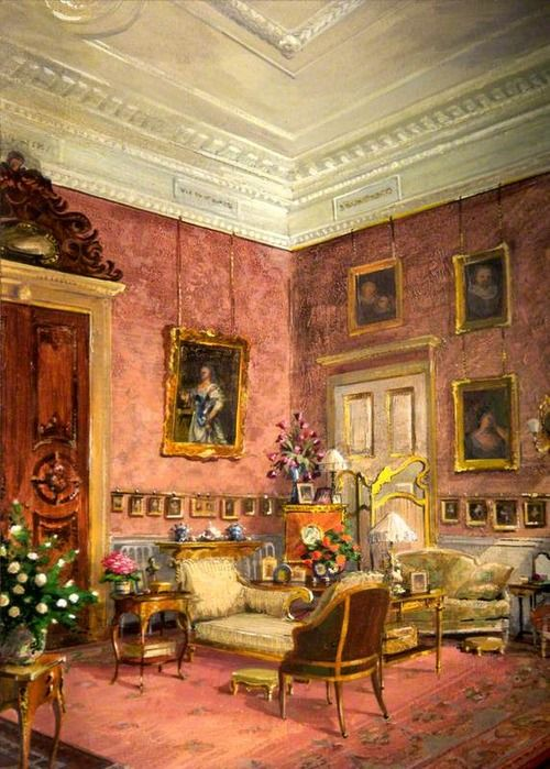 Robert Moore (b.1923) - The Drawing Room at Kingston Lacy, c. 1987 - Acrylic painting