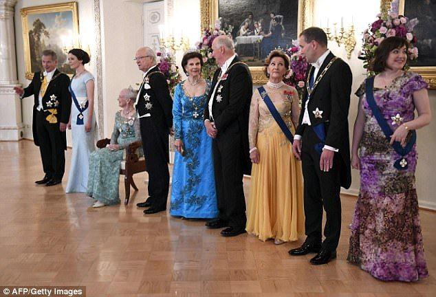 President of Finland Sauli Niinisto, his wife Jenni Haukio, Queen Margrethe of Denmark, Ki...