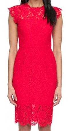 Lace red cocktail dress