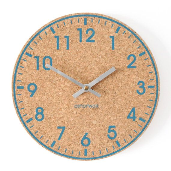 Eco Cork Wall Clock - Blue with Silver hands