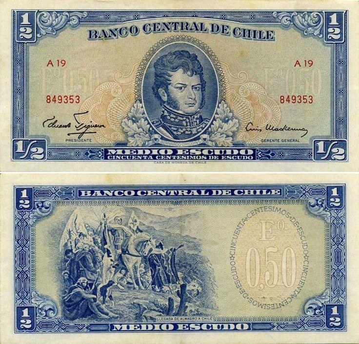 Chile 0.5 Escudos (El Escudo fue la moneda de curso legal entre 1960-1975).