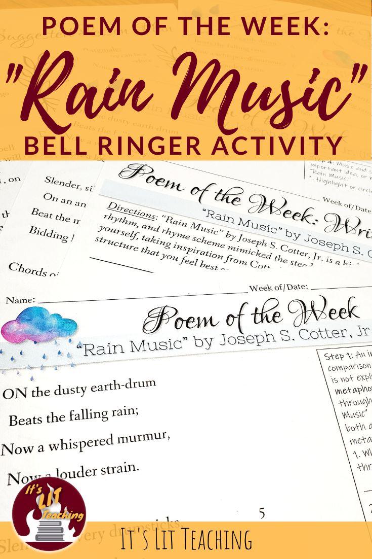 "Poem of the Week ""Rain Music"" by Joseph S. Cotter, Jr"