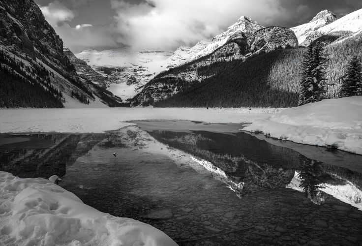 lake louise black and white - Lake Louise is one of my favourite spots in the Canadian Rockies. in winter its especially wonderful if you don't mind the cold. I had to wait about an hour for the the fog to mostly blow out but it was worth it.