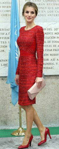 20 Nov 2014 - International Conference on Nutrition.  For today's important meetings, Queen Letizia turned to her designer of choice, Felipe Varela. She wore a bespoke poppy red sheath dress. The form fitting dress is rendered in bouclé wool with crepe bodice paneling.