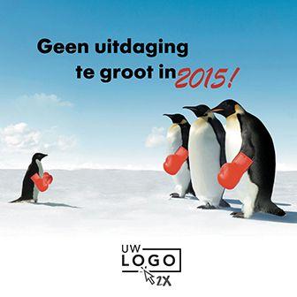 Grappige nieuwjaarskaart met boksende pinguïns. http://www.goededoelkerstkaarten.nl/nl/producten/kaart/133337
