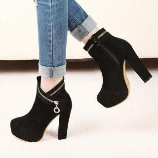 Mancienne - Zip-Accent Platform Short Boots - More shoes on SALE on YesStyle, up to 60% off