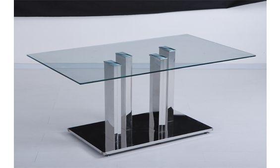 Mesa de comedor con un moderno diseño en cristal y acero