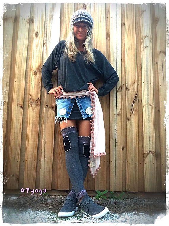 GRAY Thigh High Leg warmers POCKET leg warmers Boho Girl Grey
