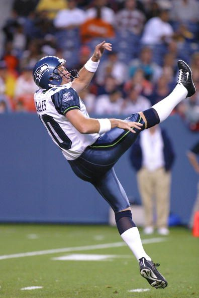 Seattle Seahawks' veteran punter Jeff Feagles punts during the Seahawks' preseason game on 08/29/02 against the Denver Broncos The Broncos defeated...