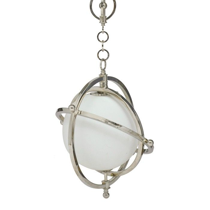 This lovely chandelier features a planet style design. The chandelier has a polished nickel frame with a glass insert. It measures 19.25