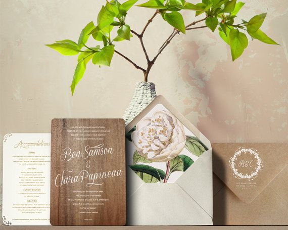 Real Wood Wedding Invitations with Letterpress by oakandorchid, $1070.00