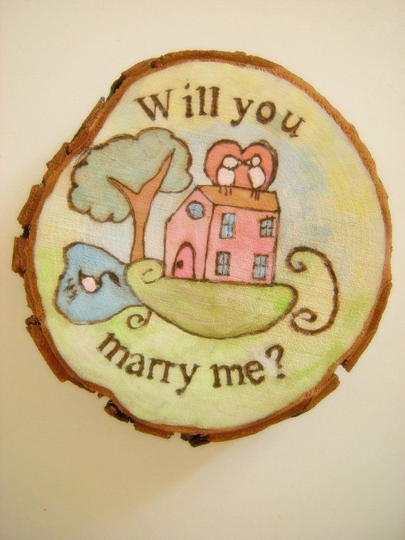 Romantic Marriage Proposal Painting on wood di LaDolceAria su Etsy