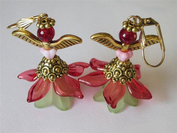Fairy Earrings Red Green Handmade Jewelry Beaded Dangles Angel Wings Lucite Flower Woodland