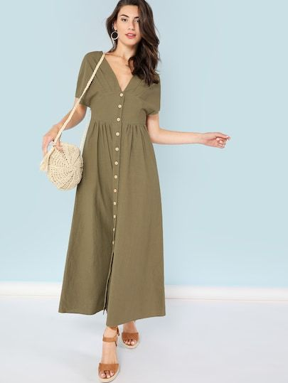 613e8564bcc6 Shop Ruched Detail Button UP Plunging Dress online. SheIn offers Ruched  Detail Button UP Plunging Dress & more to fit your fashionable needs.
