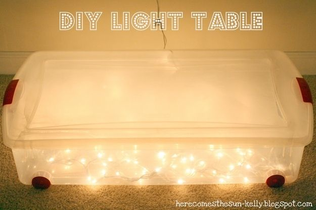 Fill a plastic bin with string lights to make a light table.