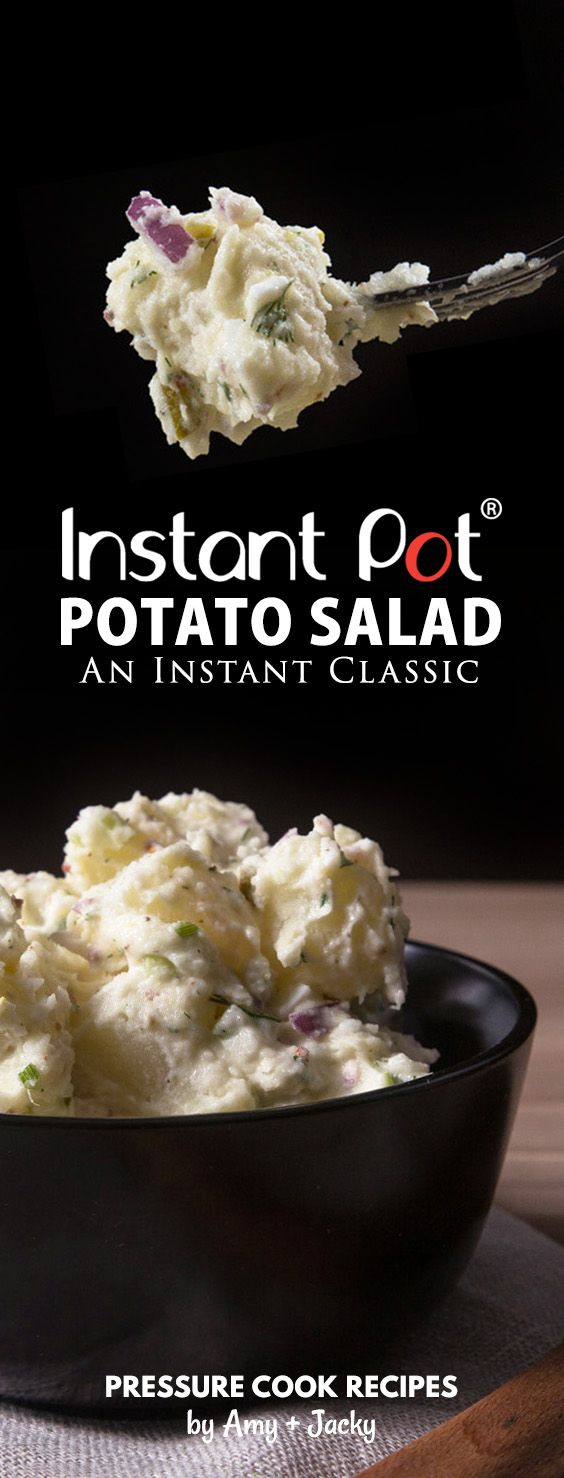 Easy Creamy Instant Pot Potato Salad Recipe (Pressure Cooker Potato Salad): cook potatoes and eggs together with no extra rack or bowl! A balance of rich flavors and textures. via @pressurecookrec