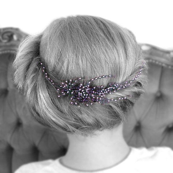 Stroik ślubny do włosów - gałązka wrzosów