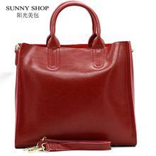 SUNNY SHOP őszi divat 100% valódi bőr női válltáska European Brand tervező Valódi bőr táska Bevásárló táska (Kína (szárazföld))