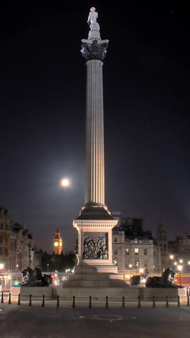 Lord Nelson's Column, Trafalgar Square, London - with Big Ben in the distance and a full moon