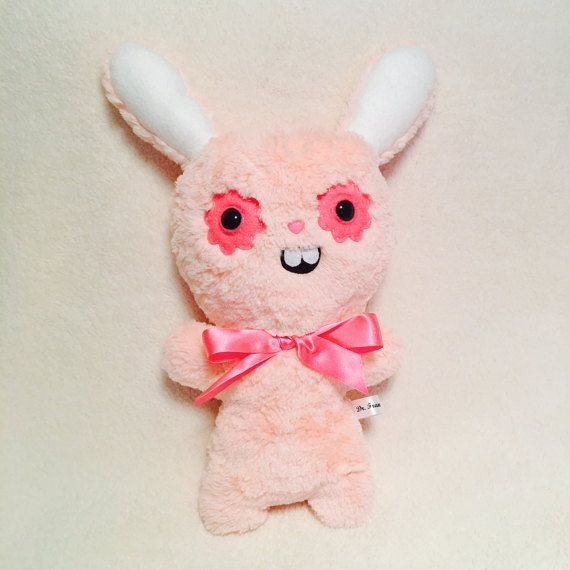 Peach Ugly Bunny Rabbit Plush Toys Kawaii Plushie Creepy Cute OOAK Art Doll Easter Bunny Gifts for Her Creepy Stuffed Animals Weird Toy