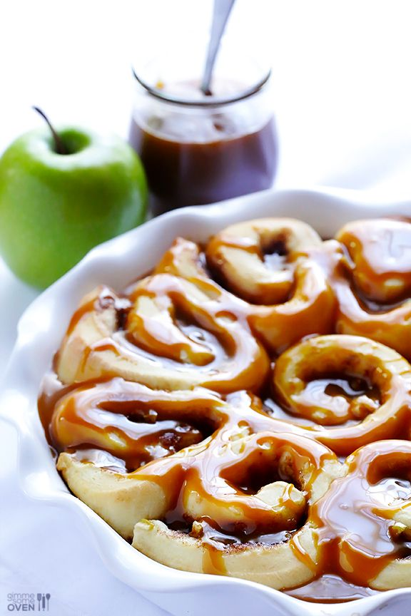 Caramel Apple Cinnamon Rolls- I think one of the best parts of this recipe is the fact that they take an hour from start to finish.