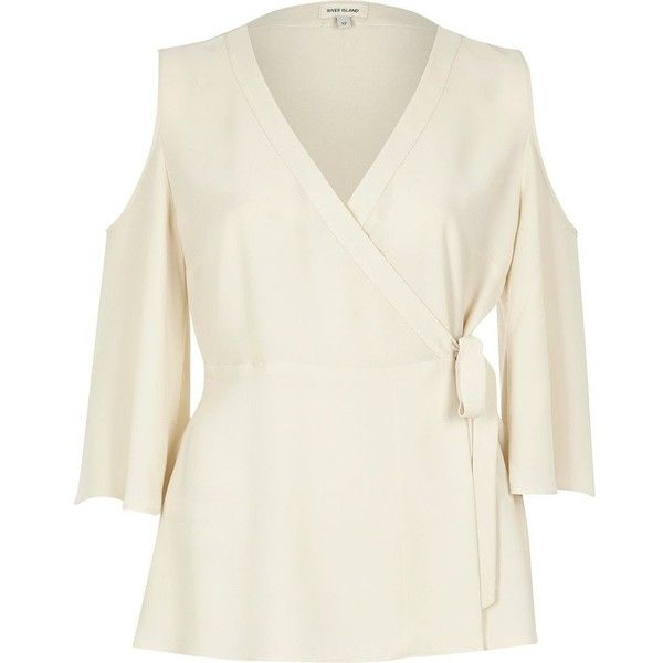 River Island Cream wrap front cold shoulder top (545 SEK) ❤ liked on Polyvore featuring tops, bardot / cold shoulder tops, cream, women, cream wrap top, open shoulder top, v-neck tops, wrap top and cut-out shoulder tops