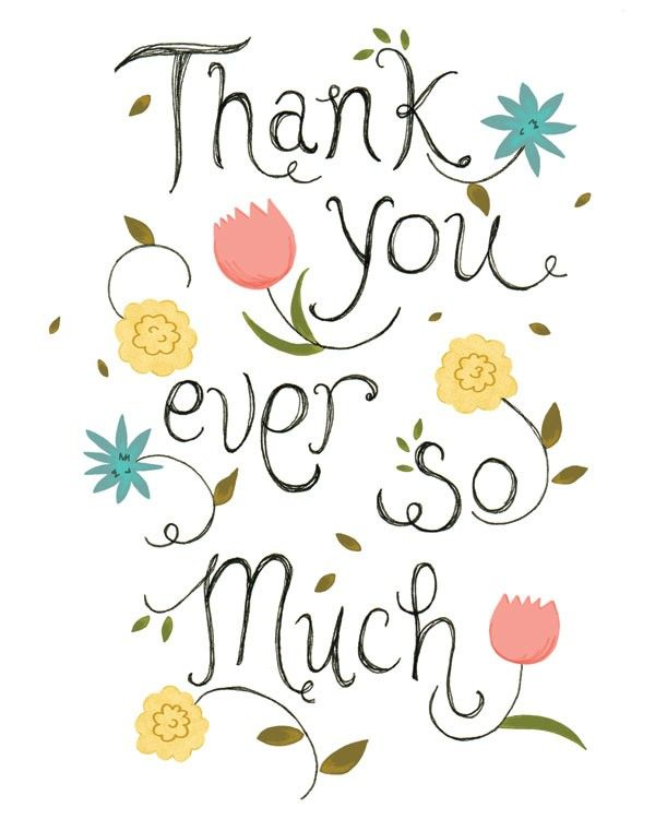 thank you note card print illustration hand letter