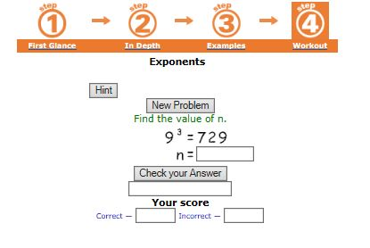 """This is an image from this resource on the Internet4Classrooms' """"Seventh Grade Interactive Math Skills -  Exponential Notation"""" resource page:    Exponent Practice.    Try a workout of 10 problems. If you do not get at least 8 correct on your first attempt, review """"In Depth"""" and try again."""