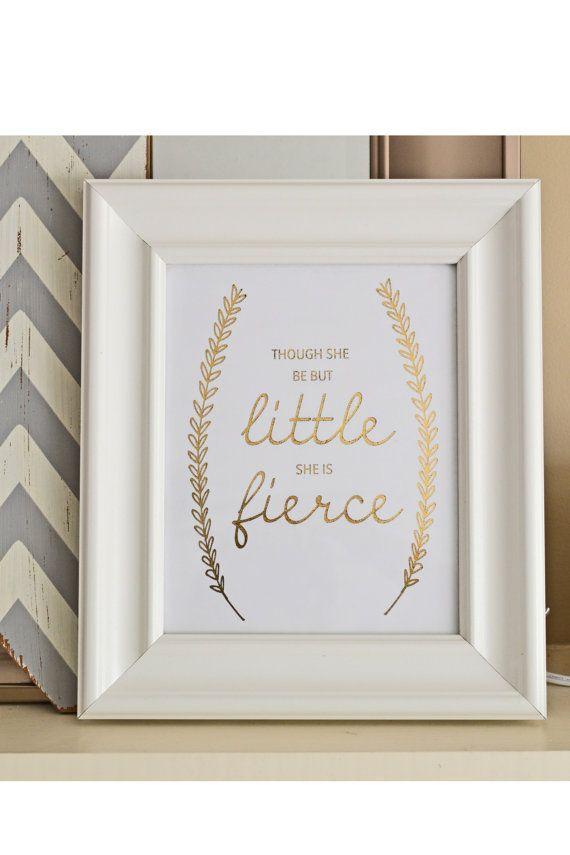 "FREE SHIPPING Gold Foil ""Little but Fierce"" Nursery Metallic Print, 8x10, baby shower gift, nursery decor, word art on Etsy, $18.00"