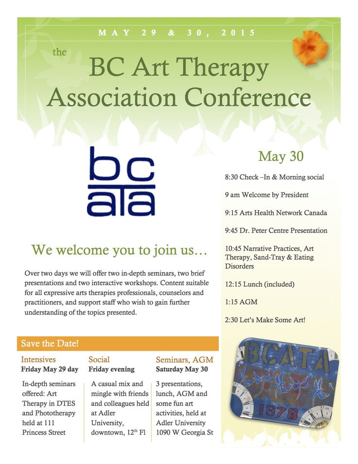 May 29 & 30 BCATA Vancouver Conference.  Page 1 of brochure www.facebook.com/BCArtTherapyAssociation