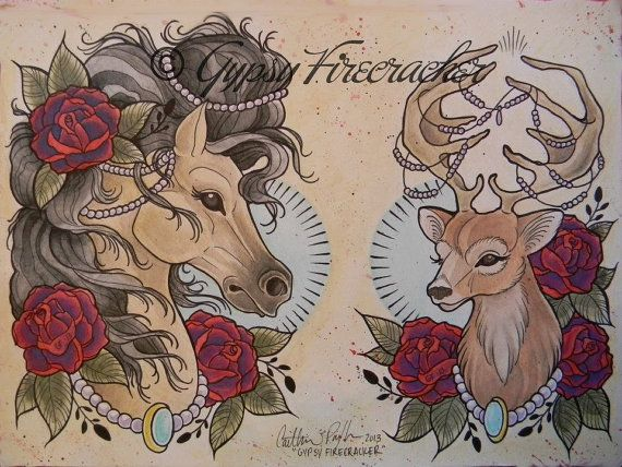 Fancy Animals Tattoo Flash Art Print on Etsy, $11.43 AUD